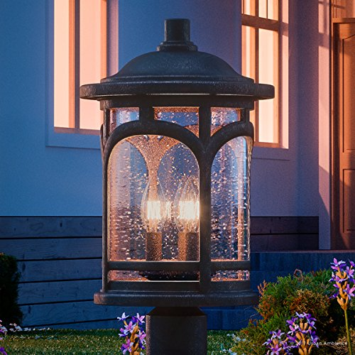 Luxury Rustic Outdoor Post Light Medium Size 19H X 11W With Colonial Style Elements Wrought Iron Design Oil Rubbed Parisian Bronze Finish And Seeded Glass UQL1107 By Urban Ambiance 0