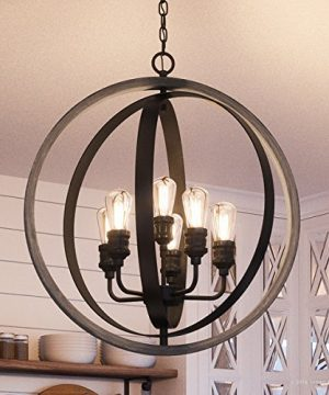 Luxury Vintage Chandelier Large Size 3075H X 28W With Modern Farmhouse Style Elements Charcoal Finish UHP2210 From The Anchorage Collection By Urban Ambiance 0 300x360