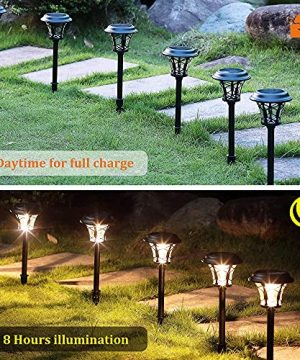 MAGGIFT 6 Pack 25 Lumen Solar Powered Pathway Lights Super Bright SMD LED Outdoor Lights Stainless Steel Glass Waterproof Light For Landscape Lawn Patio Yard Garden Deck Driveway Warm White 0 0 300x360