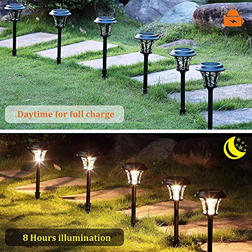 MAGGIFT 6 Pack 25 Lumen Solar Powered Pathway Lights Super Bright SMD LED Outdoor Lights Stainless Steel Glass Waterproof Light For Landscape Lawn Patio Yard Garden Deck Driveway Warm White 0 0
