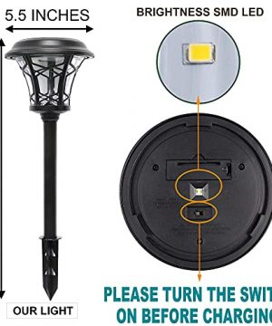 MAGGIFT 6 Pack 25 Lumen Solar Powered Pathway Lights Super Bright SMD LED Outdoor Lights Stainless Steel Glass Waterproof Light For Landscape Lawn Patio Yard Garden Deck Driveway Warm White 0 3 300x360