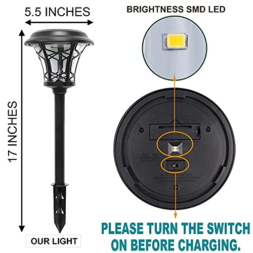 MAGGIFT 6 Pack 25 Lumen Solar Powered Pathway Lights Super Bright SMD LED Outdoor Lights Stainless Steel Glass Waterproof Light For Landscape Lawn Patio Yard Garden Deck Driveway Warm White 0 3