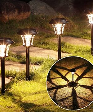 MAGGIFT 6 Pack 25 Lumen Solar Powered Pathway Lights Super Bright SMD LED Outdoor Lights Stainless Steel Glass Waterproof Light For Landscape Lawn Patio Yard Garden Deck Driveway Warm White 0 300x360