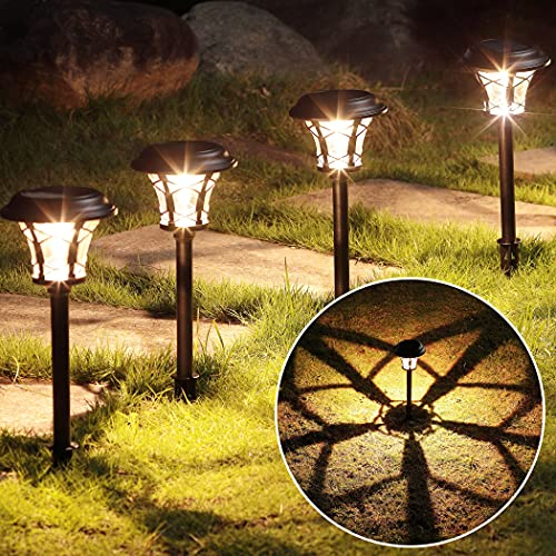 MAGGIFT 6 Pack 25 Lumen Solar Powered Pathway Lights Super Bright SMD LED Outdoor Lights Stainless Steel Glass Waterproof Light For Landscape Lawn Patio Yard Garden Deck Driveway Warm White 0