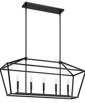 MOTINI 5 Light Kitchen Island Lantern Pendant Linear Chandelier Black Rod Hanging Light 40x 12x185 0 300x360