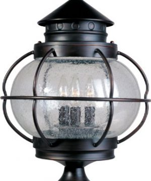 Maxim 30501CDOI Portsmouth Seed Glass Outdoor PostPole Mount 3 Light 180 Total Watts 22H X 14W Oil Rubbed Bronze 0 300x360