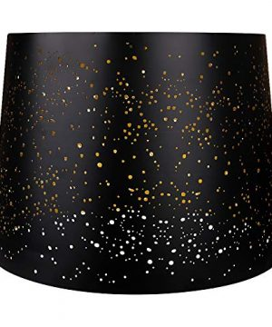 Metal Etching Process Large Lamp Shades Alucset Drum Big Lampshades For Table Lamp And Floor Light Sky Stars Design 12x14x10 Inch Spider BlackGold 0 1 300x360