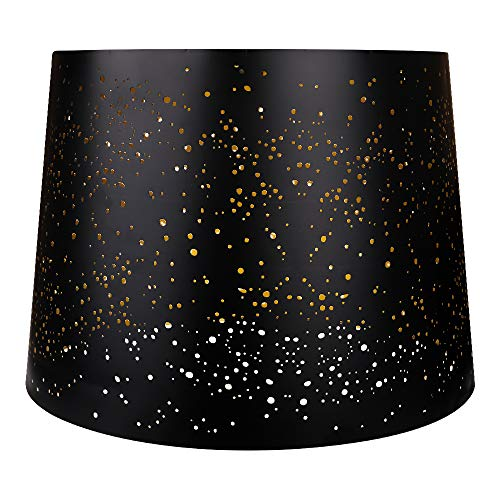 Metal Etching Process Large Lamp Shades Alucset Drum Big Lampshades For Table Lamp And Floor Light Sky Stars Design 12x14x10 Inch Spider BlackGold 0 1