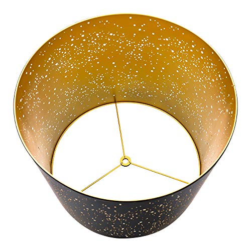 Metal Etching Process Large Lamp Shades Alucset Drum Big Lampshades For Table Lamp And Floor Light Sky Stars Design 12x14x10 Inch Spider BlackGold 0 3