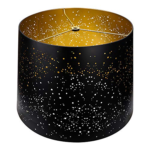 Metal Etching Process Large Lamp Shades Alucset Drum Big Lampshades For Table Lamp And Floor Light Sky Stars Design 12x14x10 Inch Spider BlackGold 0