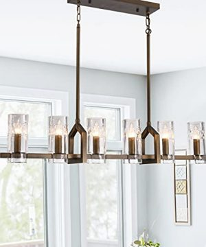 Modern Farmhouse Chandelier Light Fixture Antique Bronze Linear Pendant Lighting For Kitchen Island Dining Room Lighting Fixtures Adjustable Hanging Cord With Six Cylindrical Glass Shades 0 300x360
