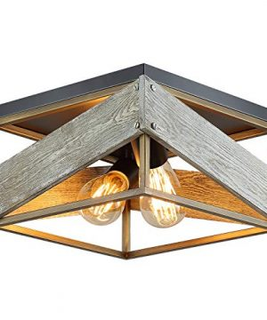 Modern Farmhouse Flush Mount Light Fixture Two Light Metal And Wood Square Flush Mount Ceiling Light For Hallway Living Room Bedroom Kitchen EntrywayAntique Gold And Black 0 300x360