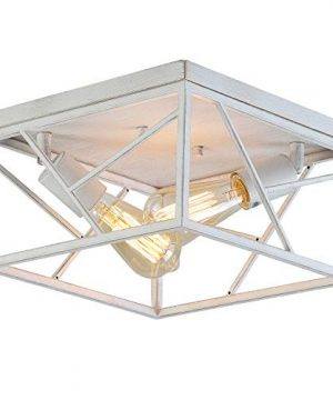 Modern Farmhouse Flush Mount Light Fixture Two Light Rustic Metal Square Semi Flush Mount Ceiling Light For Hallway Bedroom Kitchen Entryway Dining Room White With Gold 0 300x360