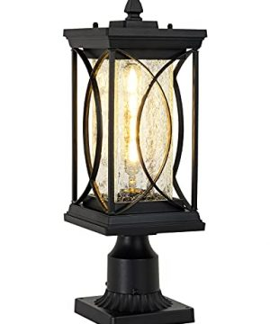 Modern Outdoor Post Lantern Exterior Light Fixtures Pillar Lamp With 3 Inch Pier Mount Adapter Black Aluminum With Crackle Glass Outdoor Post Lights For Patio Yard Garden Pathway 0 300x360