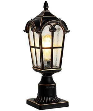 NLIEOPDA Outdoor Post Light Fixtures Black Pillar Light With 3 Inch Pier Mount Adapter Post Lantern For Post Pole Mount Aluminum With Flower Glass Outdoor Post Lamps For House Patio Garden Backyard 0 300x360