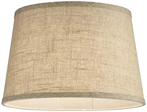 Natural Fine Burlap Small Drum Lamp Shade 10 Top X 12 Bottom X 8 Slant Spider Replacement With Harp And Finial Brentwood 0 0