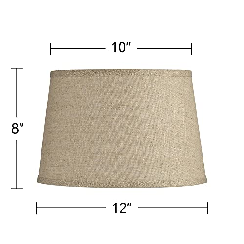 Natural Fine Burlap Small Drum Lamp Shade 10 Top X 12 Bottom X 8 Slant Spider Replacement With Harp And Finial Brentwood 0 2