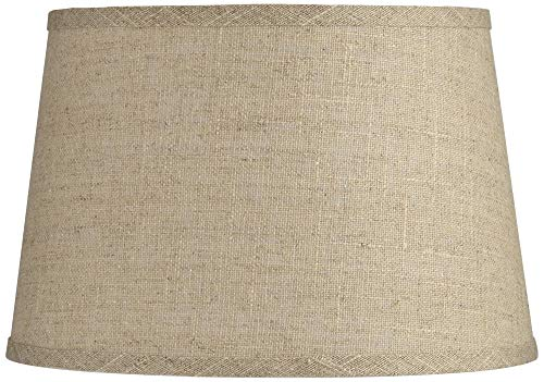 Natural Fine Burlap Small Drum Lamp Shade 10 Top X 12 Bottom X 8 Slant Spider Replacement With Harp And Finial Brentwood 0