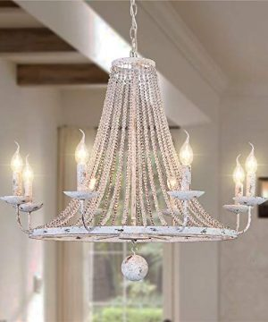 OSAIRUOS Distressed White Chandeliers Rustic Crystal Chandelier Vintage Round Hanging Light Fixture Wagon Wheel Lighting For Living Room Kitchen Bedroom Foyer D319 0 300x360