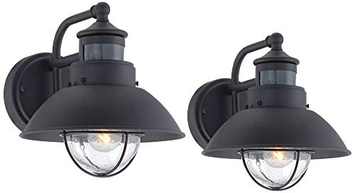 Oberlin Mission Farmhouse Outdoor Barn Light Fixtures Set Of 2 Black 9 Clear Seedy Glass Dusk To Dawn Motion Sensor For Exterior House Porch Patio John Timberland 0 0