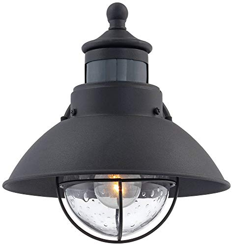 Oberlin Mission Farmhouse Outdoor Barn Light Fixtures Set Of 2 Black 9 Clear Seedy Glass Dusk To Dawn Motion Sensor For Exterior House Porch Patio John Timberland 0 1
