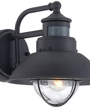 Oberlin Mission Farmhouse Outdoor Barn Light Fixtures Set Of 2 Black 9 Clear Seedy Glass Dusk To Dawn Motion Sensor For Exterior House Porch Patio John Timberland 0 2 300x360