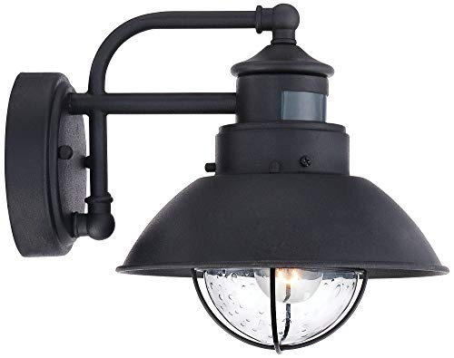 Oberlin Mission Farmhouse Outdoor Barn Light Fixtures Set Of 2 Black 9 Clear Seedy Glass Dusk To Dawn Motion Sensor For Exterior House Porch Patio John Timberland 0 3