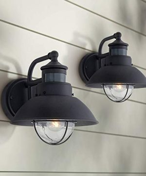 Oberlin Mission Farmhouse Outdoor Barn Light Fixtures Set Of 2 Black 9 Clear Seedy Glass Dusk To Dawn Motion Sensor For Exterior House Porch Patio John Timberland 0 300x360
