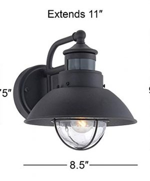 Oberlin Mission Farmhouse Outdoor Barn Light Fixtures Set Of 2 Black 9 Clear Seedy Glass Dusk To Dawn Motion Sensor For Exterior House Porch Patio John Timberland 0 4 300x360