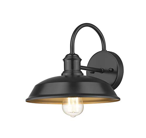 Odeums Farmhouse Barn Lights Outdoor Wall Lights Exterior Wall Lamps Industrial Wall Lighting Fixture Wall Mount Light In Black Finish With Copper Interior Black 4 Pack 0 0