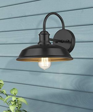 Odeums Farmhouse Barn Lights Outdoor Wall Lights Exterior Wall Lamps Industrial Wall Lighting Fixture Wall Mount Light In Black Finish With Copper Interior Black 4 Pack 0 1 300x360