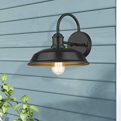 Odeums Farmhouse Barn Lights Outdoor Wall Lights Exterior Wall Lamps Industrial Wall Lighting Fixture Wall Mount Light In Black Finish With Copper Interior Black 4 Pack 0 1