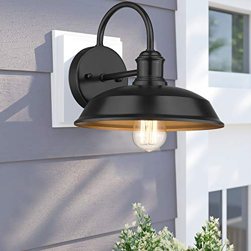Odeums Farmhouse Barn Lights Outdoor Wall Lights Exterior Wall Lamps Industrial Wall Lighting Fixture Wall Mount Light In Black Finish With Copper Interior Black 4 Pack 0 2