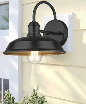 Odeums Farmhouse Barn Lights Outdoor Wall Lights Exterior Wall Lamps Industrial Wall Lighting Fixture Wall Mount Light In Black Finish With Copper Interior Black 4 Pack 0 3 300x360
