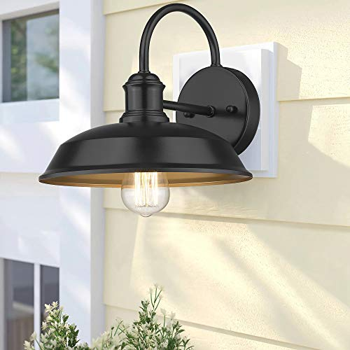 Odeums Farmhouse Barn Lights Outdoor Wall Lights Exterior Wall Lamps Industrial Wall Lighting Fixture Wall Mount Light In Black Finish With Copper Interior Black 4 Pack 0 3