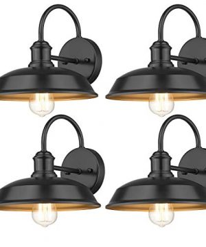 Odeums Farmhouse Barn Lights Outdoor Wall Lights Exterior Wall Lamps Industrial Wall Lighting Fixture Wall Mount Light In Black Finish With Copper Interior Black 4 Pack 0 300x360