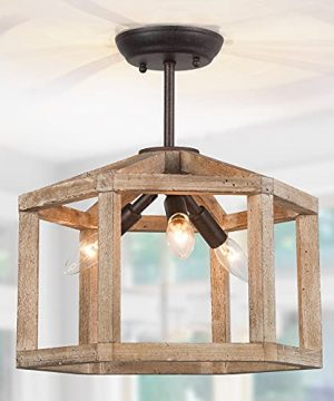 Optimant Lighting 142 Wood Semi Flush Mount Ceiling Light Farmhouse Rust 3 Light Fixtures Ceiling Mount For Hallway Bedroom Kitchen Foyer And Dining Room 0 300x360