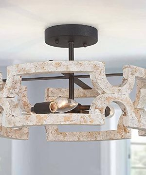 Optimant Lighting Farmhouse Wood Drum Semi Flush Mount Ceiling Light Vintage Distressed White Close To Ceiling Light Fixtures For Bedroom Hallway Kitchen Foyer And Dining Room 0 300x360