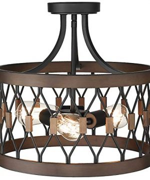 Osimir Semi Flush Mount Ceiling Light 3 Light Ceiling Light Fixture 16 Inch Cage Drum Pendant Hanging In Wood And Black Finish PE9170 3 0 300x360