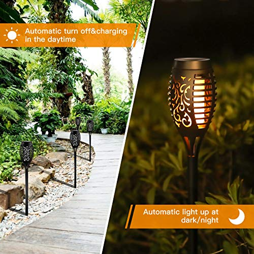 Otdair Solar Torch Lights With Flickering Flame 12LED Tiki Torch Solar Lights Outdoor IP65 Waterproof Mini Solar Torch Light Auto OnOff For Garden Patio Yard Pathway 8 Packs 0 0