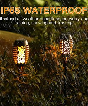Otdair Solar Torch Lights With Flickering Flame 12LED Tiki Torch Solar Lights Outdoor IP65 Waterproof Mini Solar Torch Light Auto OnOff For Garden Patio Yard Pathway 8 Packs 0 1 300x360