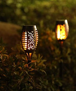 Otdair Solar Torch Lights With Flickering Flame 12LED Tiki Torch Solar Lights Outdoor IP65 Waterproof Mini Solar Torch Light Auto OnOff For Garden Patio Yard Pathway 8 Packs 0 2 300x360