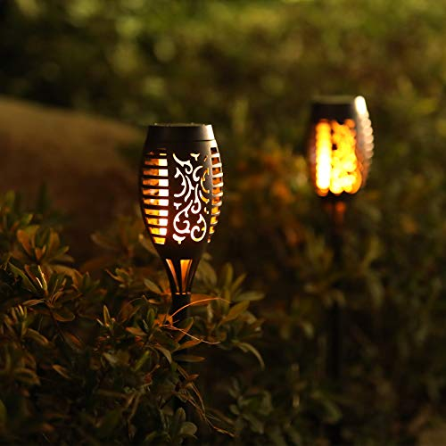 Otdair Solar Torch Lights With Flickering Flame 12LED Tiki Torch Solar Lights Outdoor IP65 Waterproof Mini Solar Torch Light Auto OnOff For Garden Patio Yard Pathway 8 Packs 0 2