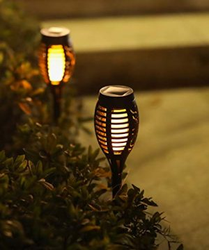 Otdair Solar Torch Lights With Flickering Flame 12LED Tiki Torch Solar Lights Outdoor IP65 Waterproof Mini Solar Torch Light Auto OnOff For Garden Patio Yard Pathway 8 Packs 0 3 300x360