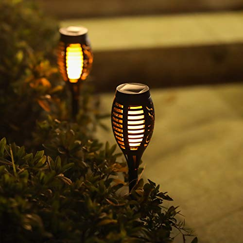 Otdair Solar Torch Lights With Flickering Flame 12LED Tiki Torch Solar Lights Outdoor IP65 Waterproof Mini Solar Torch Light Auto OnOff For Garden Patio Yard Pathway 8 Packs 0 3