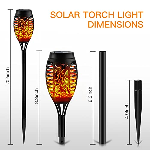 Otdair Solar Torch Lights With Flickering Flame 12LED Tiki Torch Solar Lights Outdoor IP65 Waterproof Mini Solar Torch Light Auto OnOff For Garden Patio Yard Pathway 8 Packs 0 4