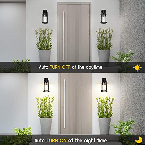 PARTPHONER Dusk To Dawn Outdoor Light Fixtures Wall Mount 2 Pack Modern Wall Sconce Lighting With Crystal Bubble Glass LED Porch Lights With Photocell Sensor 10W 3000K For Front Door Garage Patio 0 0