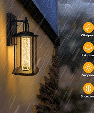 PARTPHONER Dusk To Dawn Outdoor Light Fixtures Wall Mount 2 Pack Modern Wall Sconce Lighting With Crystal Bubble Glass LED Porch Lights With Photocell Sensor 10W 3000K For Front Door Garage Patio 0 3 300x360