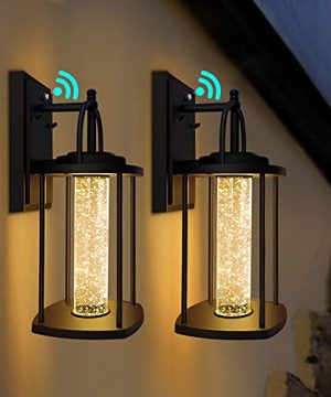 PARTPHONER Dusk To Dawn Outdoor Light Fixtures Wall Mount 2 Pack Modern Wall Sconce Lighting With Crystal Bubble Glass LED Porch Lights With Photocell Sensor 10W 3000K For Front Door Garage Patio 0 300x360