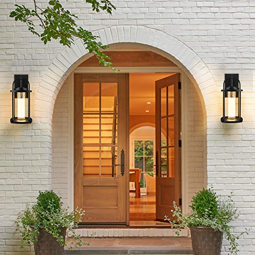 PARTPHONER Dusk To Dawn Outdoor Light Fixtures Wall Mount 2 Pack Modern Wall Sconce Lighting With Crystal Bubble Glass LED Porch Lights With Photocell Sensor 10W 3000K For Front Door Garage Patio 0 4